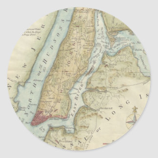 Vintage Map of New York City (1869) Classic Round Sticker