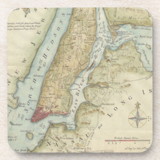 Vintage Map of New York City (1869) Drink Coaster