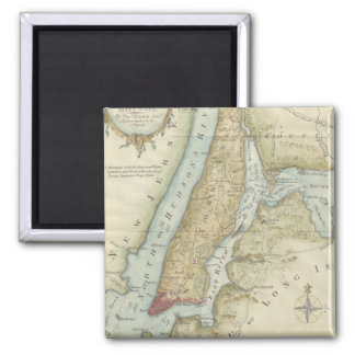 Vintage Map of New York City (1869) 2 Inch Square Magnet