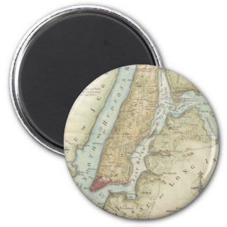 Vintage Map of New York City (1869) 2 Inch Round Magnet