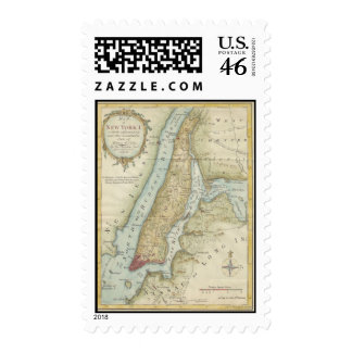 Vintage Map of New York City 1869 Stamp
