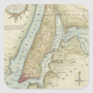 Vintage Map of New York City (1869) Square Stickers