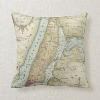 Vintage Map of New York City (1869) Throw Pillow