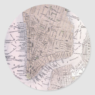 Vintage Map of New York City (1884) Classic Round Sticker