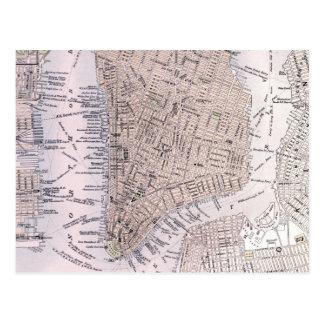 Vintage Map of New York City (1884) Postcard