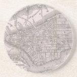 Vintage Map of New York City (1886) Beverage Coasters