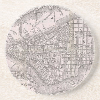 Vintage Map of New York City (1886) Drink Coaster