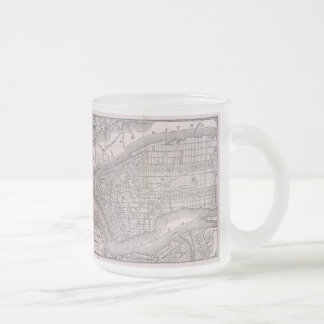 Vintage Map of New York City (1886) 10 Oz Frosted Glass Coffee Mug