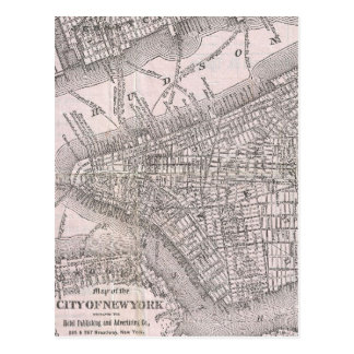 Vintage Map of New York City (1886) Postcard