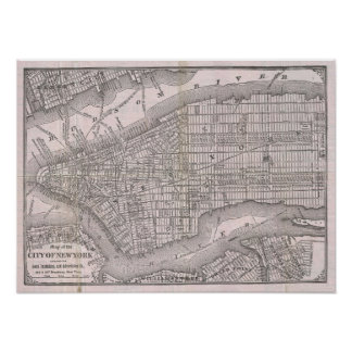 Vintage Map of New York City (1886) Poster