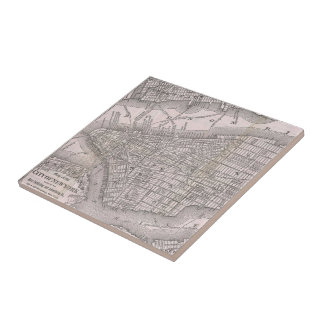 Vintage Map of New York City (1886) Small Square Tile