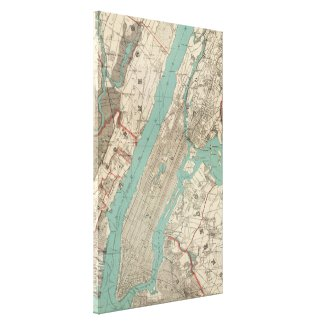 Vintage Map of New York City (1890) Canvas Print
