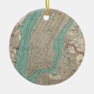 Vintage Map of New York City (1890) Ceramic Ornament