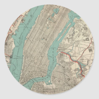 Vintage Map of New York City (1890) Classic Round Sticker