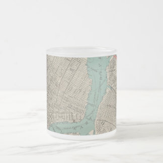 Vintage Map of New York City (1890) Frosted Glass Coffee Mug