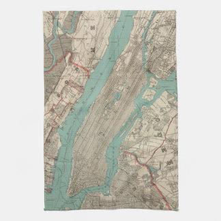 Vintage Map of New York City (1890) Kitchen Towel