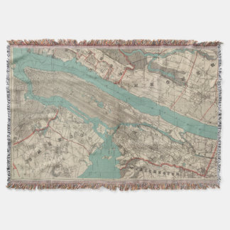 Vintage Map of New York City (1890) Throw Blanket