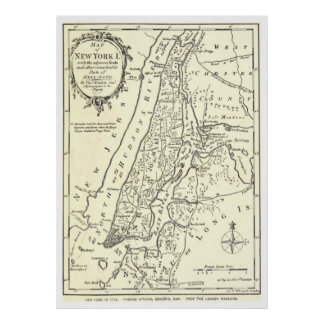 Vintage Map of New York City (1893) Poster