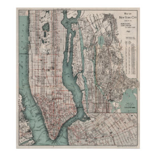 Vintage New York City Map Posters Photo Prints Zazzle