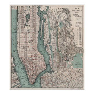 Vintage Map of New York City (1897) Poster