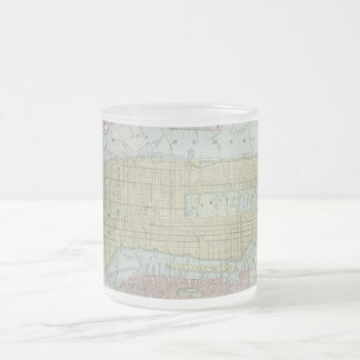 Vintage Map of New York City (1901) Frosted Glass Coffee Mug