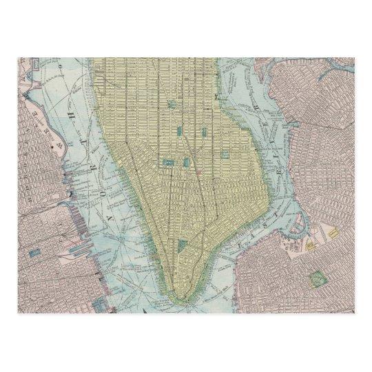 Vintage Map of New York City (1901) Postcard