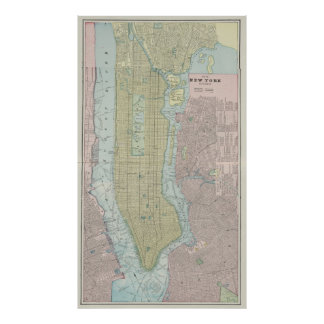 Vintage Map of New York City (1901) Poster