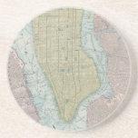 Vintage Map of New York City (1901) Sandstone Coaster