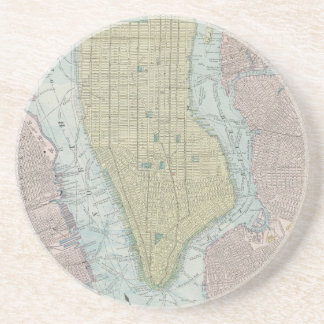 Vintage Map of New York City (1901) Sandstone Coaster