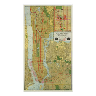 Vintage Map of New York City (1918) Poster