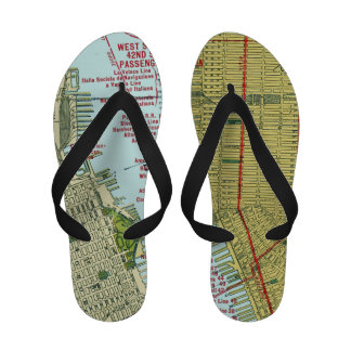 Vintage Map of New York City Flip-Flops