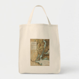 Vintage Map of New York City Harbor (1864) Canvas Bags