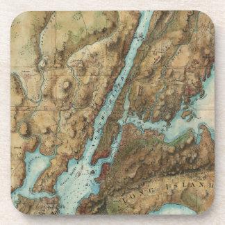 Vintage Map of New York City Harbor (1864) Beverage Coaster