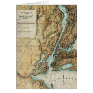 Vintage Map of New York City Harbor (1864) Card