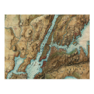 Vintage Map of New York City Harbor (1864) Postcard