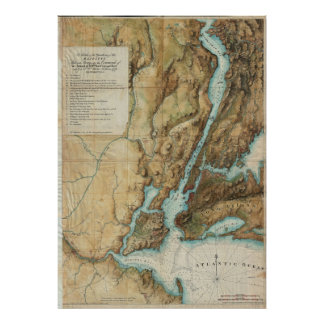 Vintage Map of New York City Harbor (1864) Poster