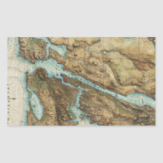 Vintage Map of New York City Harbor (1864) Rectangular Sticker