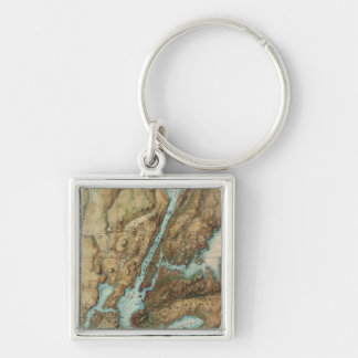 Vintage Map of New York City Harbor (1864) Silver-Colored Square Keychain