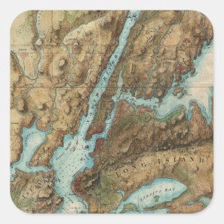 Vintage Map of New York City Harbor (1864) Square Sticker