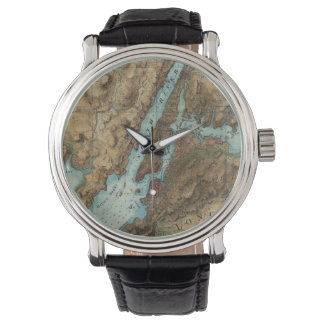 Vintage Map of New York City Harbor (1864) Wrist Watches