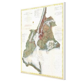 Vintage Map of New York City Harbor (1866) Canvas Print