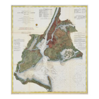 Vintage Map of New York City Harbor (1866) Poster