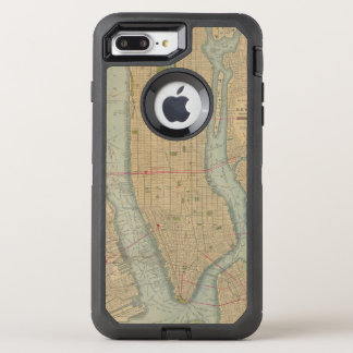 Vintage Map of New York City Manhattan OtterBox Defender iPhone 8 Plus/7 Plus Case