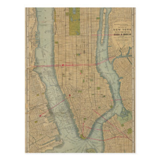 Vintage Map of New York City Manhattan Postcard