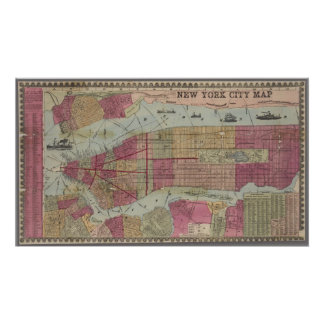 Vintage map of New York City Poster