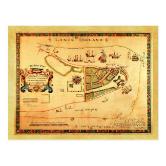 Vintage Map of New York City (then New Amsterdam) Postcard