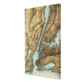 Vintage Map of New York Harbor (1864) Gallery Wrap Canvas
