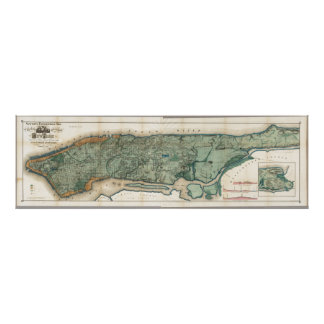 Vintage Map of New York Poster