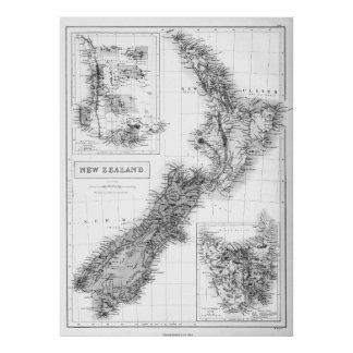Vintage Map of New Zealand (1854) BW Poster
