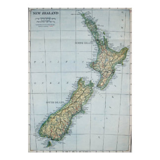 Vintage Map of New Zealand (1921) Poster